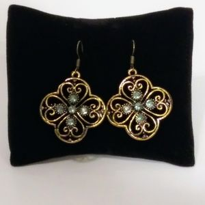 Pale Blue and Gold Color Fashion Earrings NWT